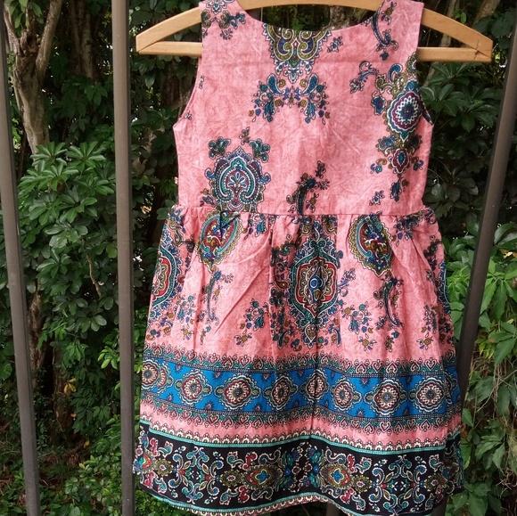 🎉HP🎈 NWOT Girls Boho Batik Paisley Cotton Dress